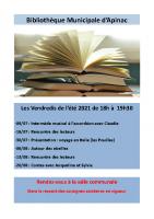 2021 affiche biblio Apinac Vendredis de l'été